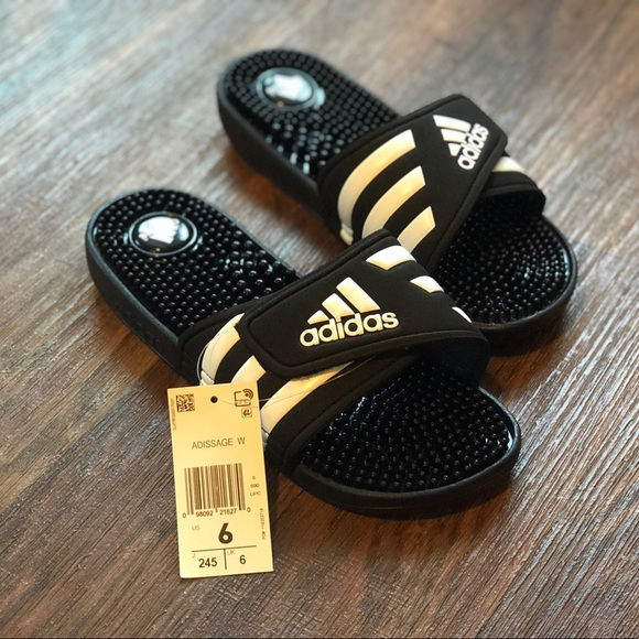82bad6f0f Adidas adissage mens slippers size 6 black white